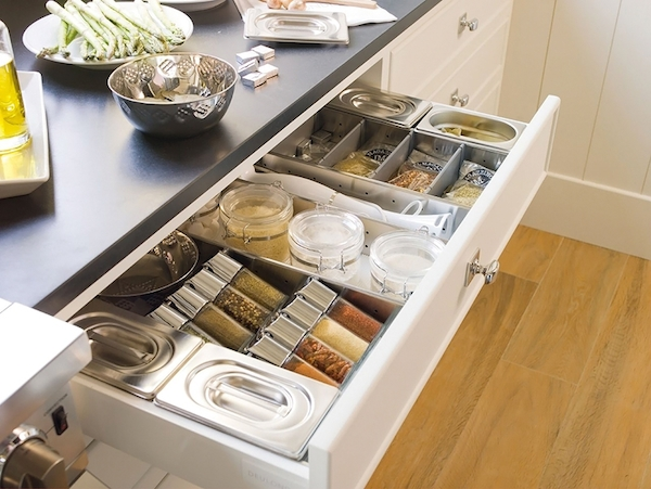 Cool-stainless-topless-and-box-for-storage-with-neat-drawers-with-black-and-white-kitchen-stand-decorating-color-ideas-with-wooden-floor