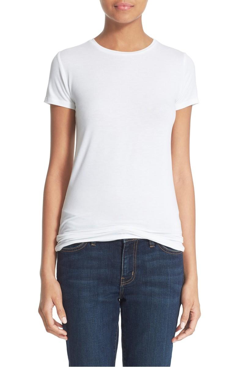 Hvit eller sort 100% deluxe bomull t-shirt med rund hals Majestic Filatures - 2902