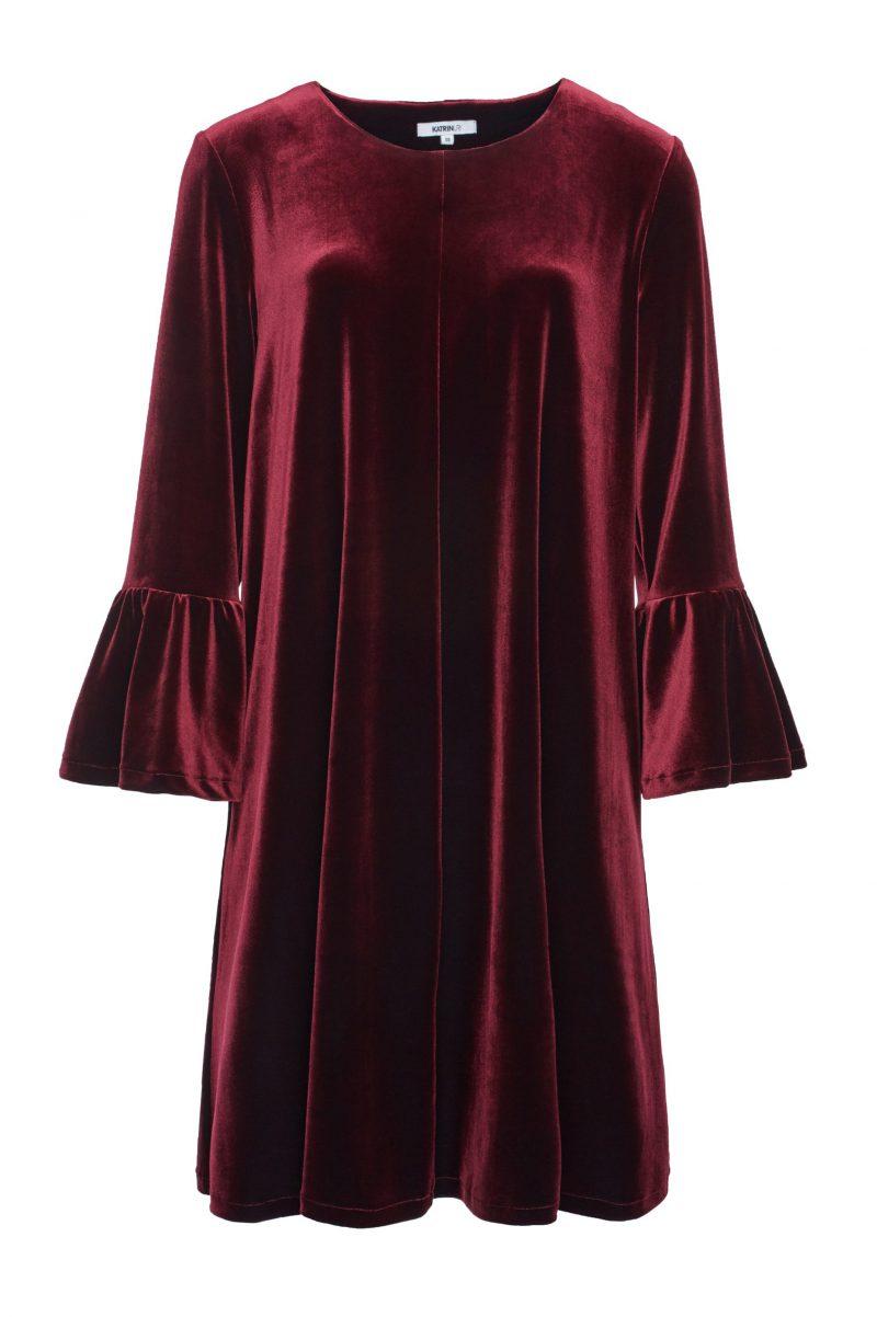 Bordeaux, blå, smaragdgrønn eller sort velourkjole med vippeerm Katrin Uri - 622 Golden gate volang dress