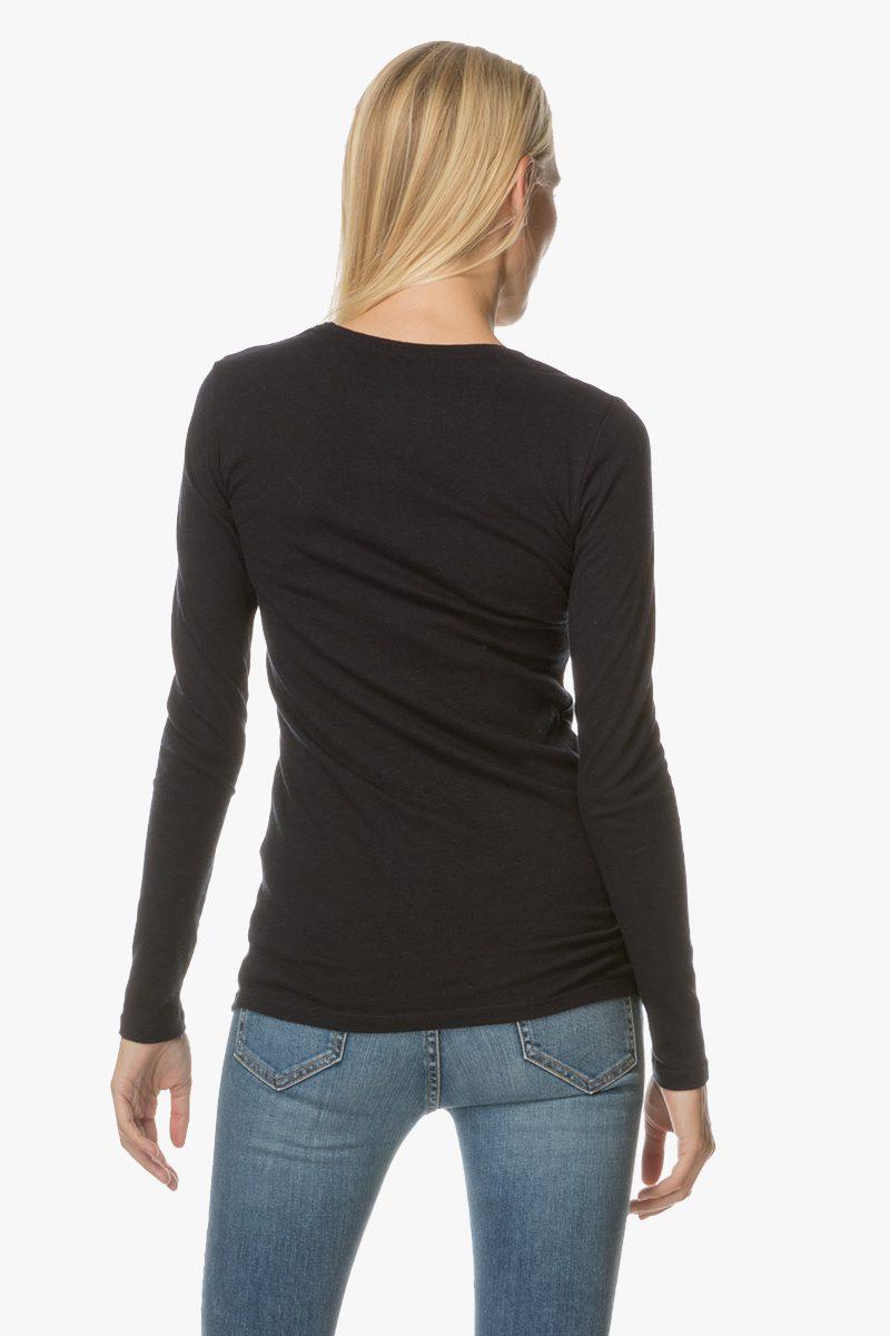 Sort cashmere/bomull long sleeve topp Majestic Paris - H17E0506
