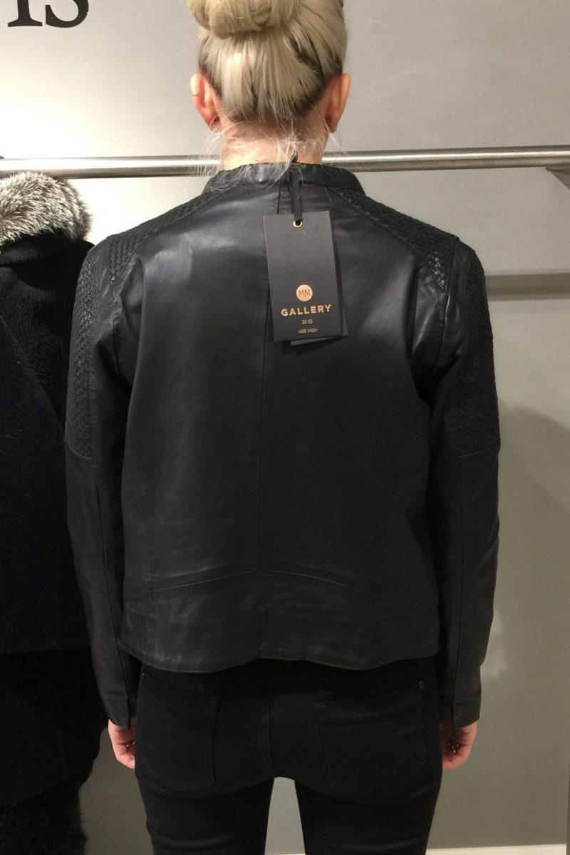 Sort skinnjakke med bottegafletter Mos Mosh - 119100 bowie leather jacket