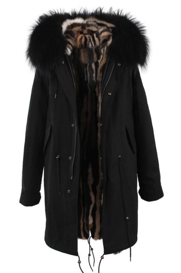 Sort parkas med raccoon pels og fuskefór MDL