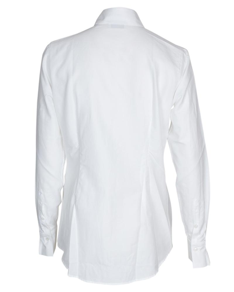 Hvit silkebomull bluse med plissé og strass Stenstrøms - 272243 6493