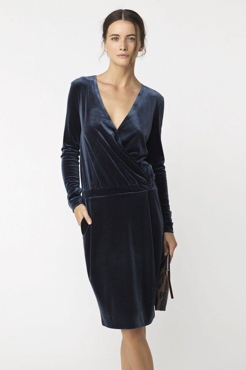 Blå velourkjole med glitter By Malene Birger - JANNIA DRESS