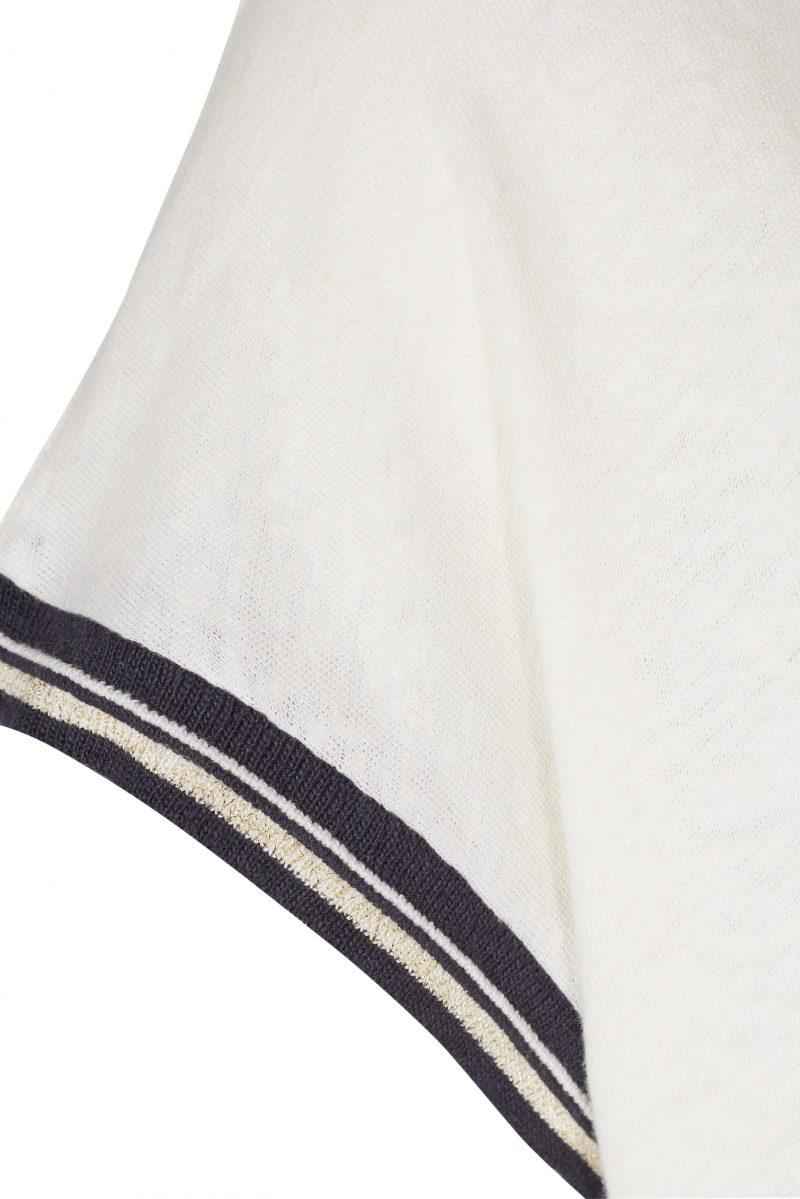 Lin bomull oversized t-shirt med sortstripet kant Mos Mosh - 121330 turner tee