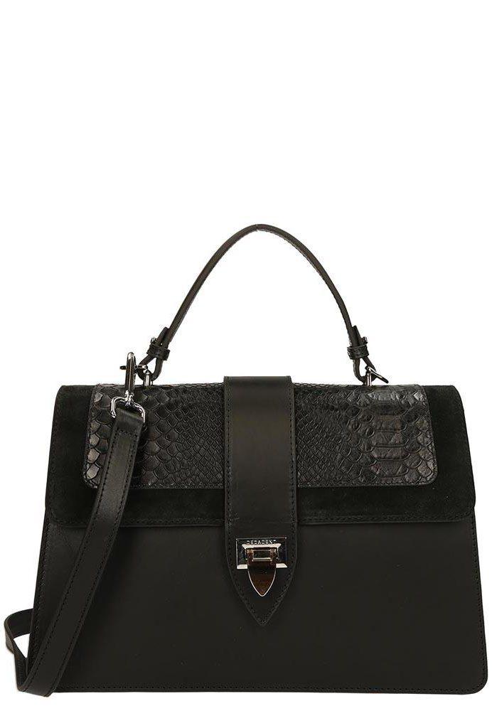 Sort håndveske med anaconda og vegital skinnkvalitet samt crossover rem Decadent Copenhagen -  594 aleah handbag