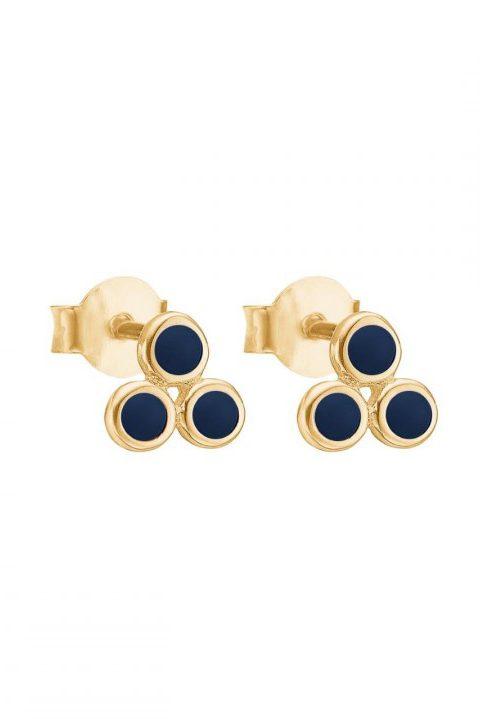 Øredobb med 3 emaljerte dots i navy Enamel Copenhagen - stud triple dot midnight earring