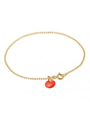 Armbånd 'Ball Chain' med rød dot Enamel Copenhagen
