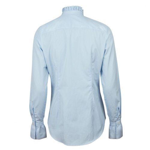 Hvit (ikke lyseblå stripet) volangkantet bomulls bluse Stenstrøms - 281226-6537-000