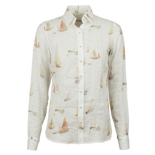 Hvit linskjorte med seilbåtmotiv Stenstrøms - 281228-6542-051