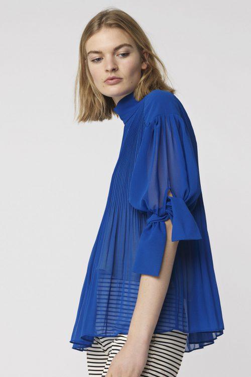 Kornblå bluse By Malene Birger - platta q64894004