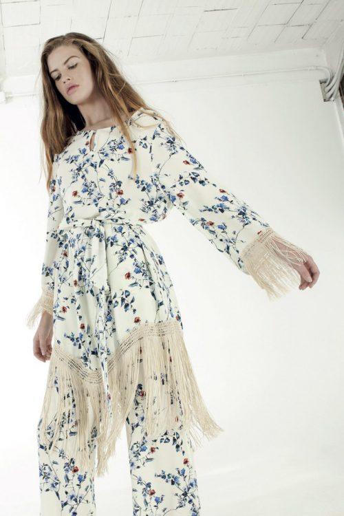 Hvitblåblomstret kjole Nolita - cristal