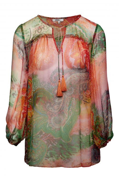 Korallgrønnmønstret chiffon silkebluse med poseerm Katrin Uri - 406 festival blouse