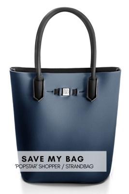 Hvit, blå eller orange metallic shopper (strandbag) Save My Bag - popstar