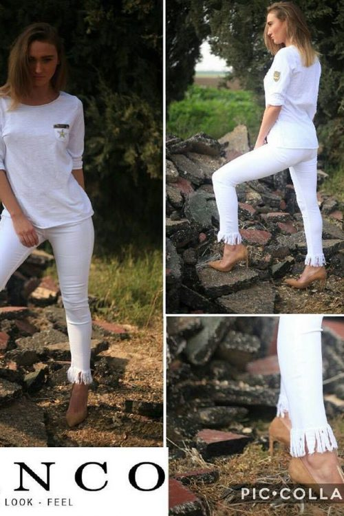 Hvit smal bukse med lange frynser Bianco Jeans - Maine 1117254