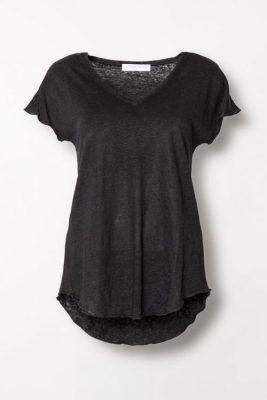 Hvit eller sort lintopp med v-hals Cathrine Hammel - 207.118 linnen v-neck t-shirt