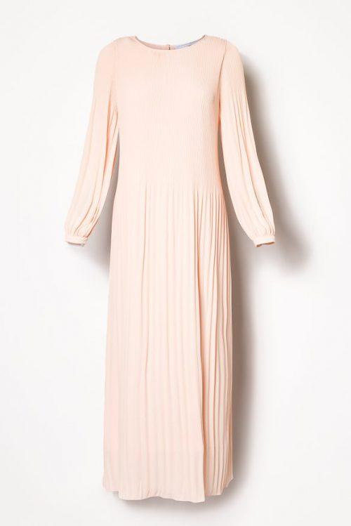 Dus rosa lang plissékjole med poseermer Cathrine Hammel - 458.118 long miami dress