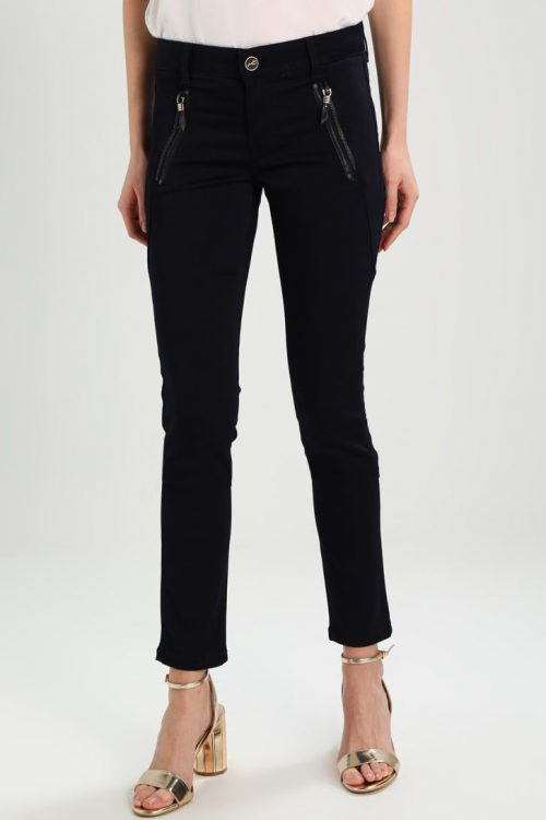Navy bukse med kraftig skråzip Mos Mosh - 122400 Hale Silk Pant