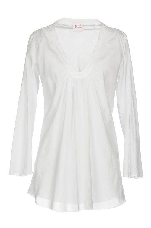 Hvit eller marine florlett topp med legg foran og flettebord Nolita - b0172v0 kyle