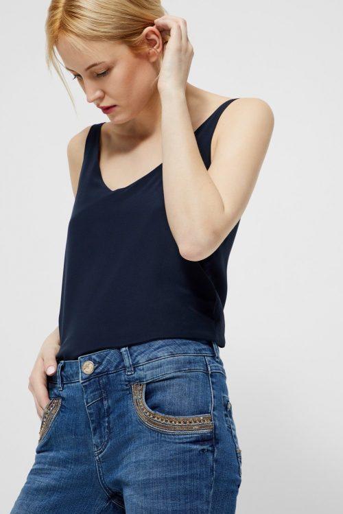 Lys jeans med antikk gull dekor Mos Mosh - 121770 naomi shine split 7/8