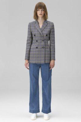 Gråblårutet blazer By Malene Birger - ziv q65205001 Jeans viddebukse By Malene Birger - elva q65214002