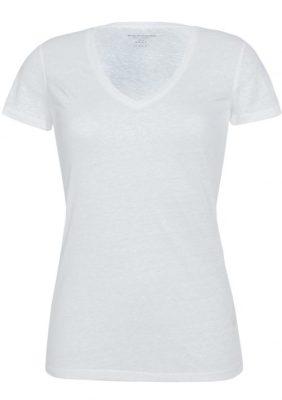 Hvit lin t-shirt med v-hals Majestic Filatures - E171603