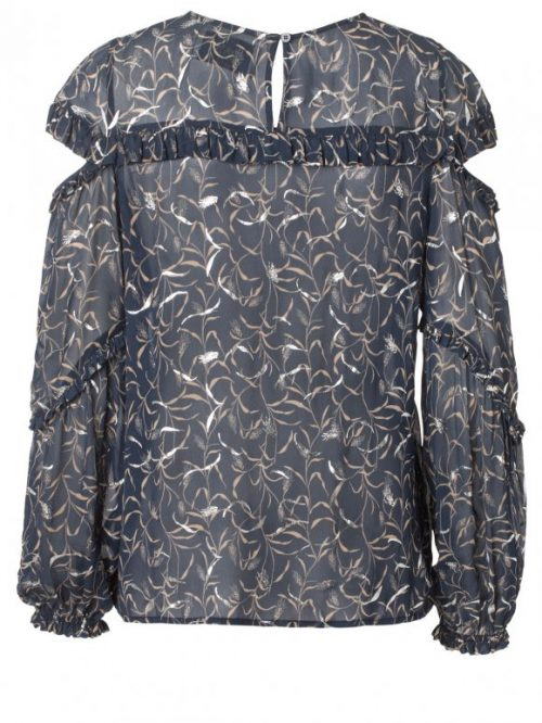Sexy blåmønstret viskose bluse med bare skuldre Munthe - painter