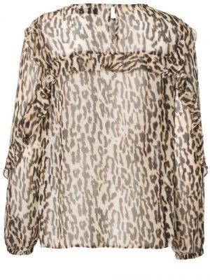 Sandfarget leopard viskose bluse Munthe - panda