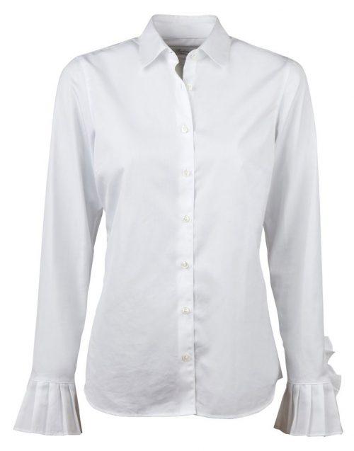 Hvit bomullsbluse med volanger Stenstrøms - 261035-6080
