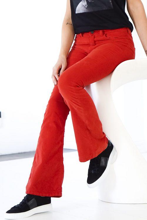 Rød velour flare bukse Lois