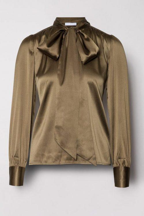 Army silkebluse med sløyfe Cathrine Hammel - 1090 pussy bow top