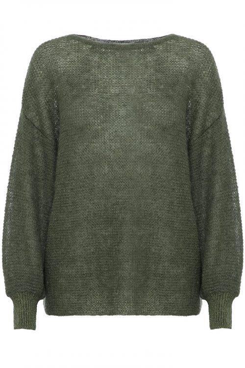 Orange, mose eller sort mohairmix genser med pufferm og lurexmansjett Dear Dharma - puff lurex