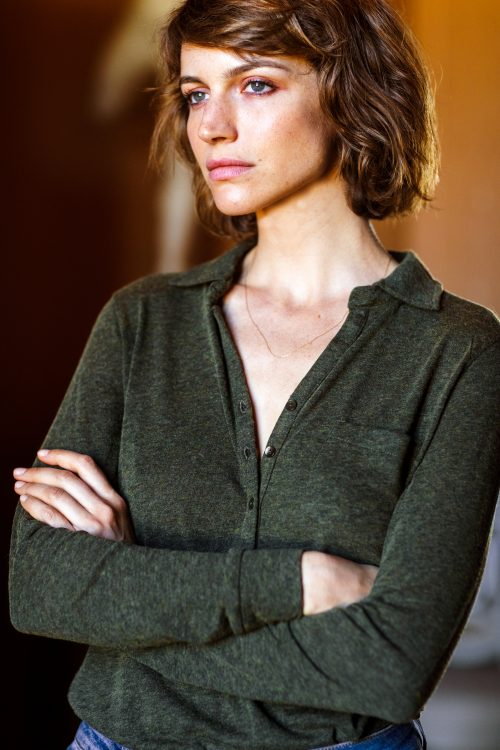Mosegrønn ull/viskose jerseyskjorte Katrin Uri - 213 magic shirt