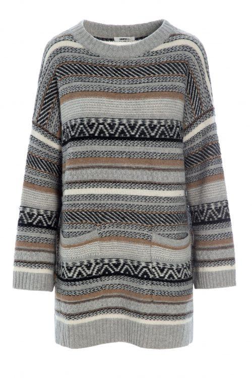 Gråsortoker jaquardmønstret genser Katrin Uri - 321 village jaquard pullover