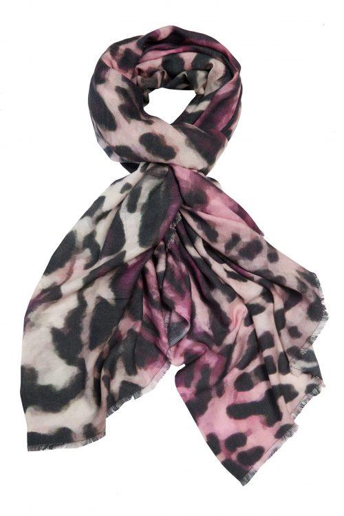 Pink cashmeremix leopard skjerf Katrin Uri - 907 pink leopard