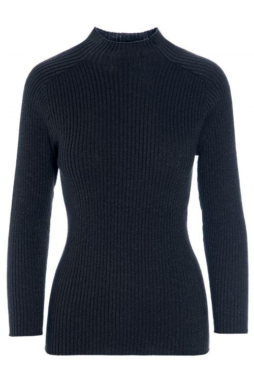 Plomme, stålgråblå eller kobber ribbet lurexpolo Katrin Uri - 301 ritz ribbed pullover