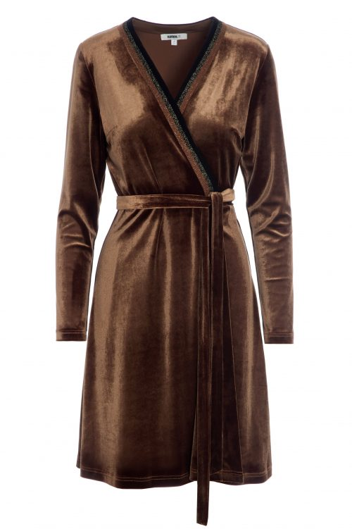 Cognac eller sort omlott velourkjole Katrin Uri - 600 laounge wrap dress