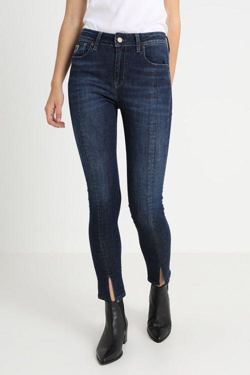Jeans eller sort smal bukse 'Cordoba' med søm og splitt foran Lois Jeans - codoba split 2303 momo khol mist 5708 L34