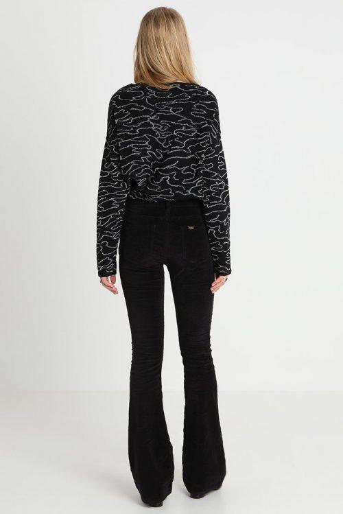 Sort, cognactobakk, blodrød eller offwhite velour flare bukse Lois Jeans - raval 207 velvet smooth 5560