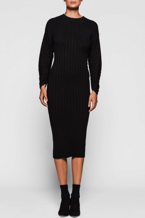 Sort lang ribbet kjole med poseerm One & Other - mars ribbed dress