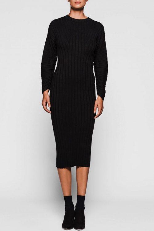 Sort lang ribbet kjole med poseerm One & Another - mars ribbed dress
