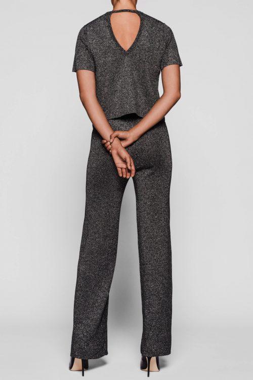 Grå glitter lurex topp og viddebukse One & Other - rio top og rio pants Toppen kan brukes begge veier.