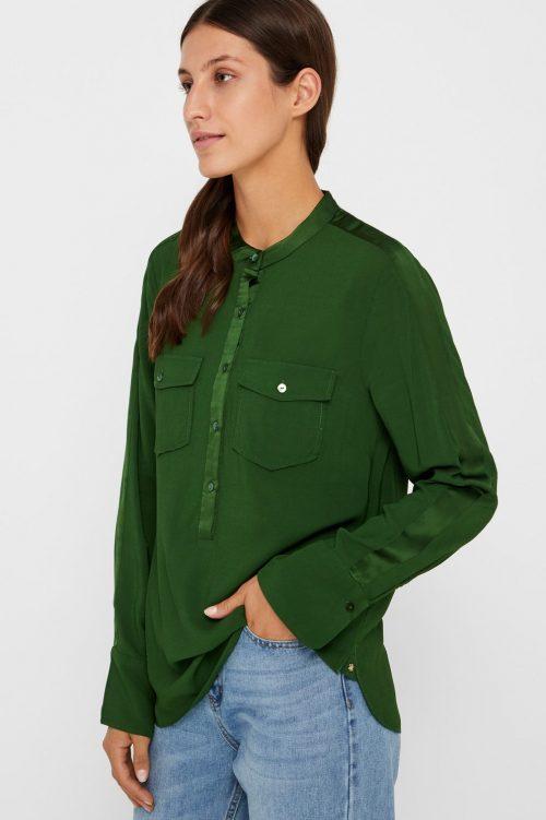 Guccigrønn eller navy bluse med brystlommer Gustav - 28628-7119