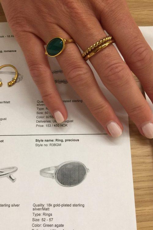 'Precious' ring med grønn agate sten Enamel Copenhagen - R38GM ring, precious