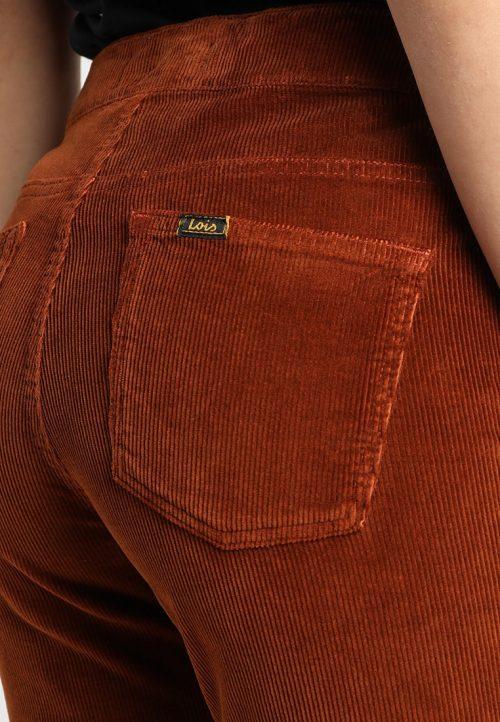 Kanelbrun eller sort medium bred cord viddebukse med glidelås Lois Jeans – rawide 2261 brightcord one 5621