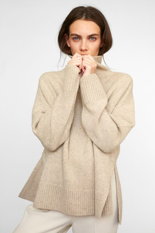Oatmeal melange, light grey eller sort YAK oversized pologenser Cathrine Hammel - 1004 short wide turtle neck
