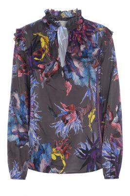 Gråblå Gucci-inspirert silkebluse med volanger Dea Kudibal - elly wild flower