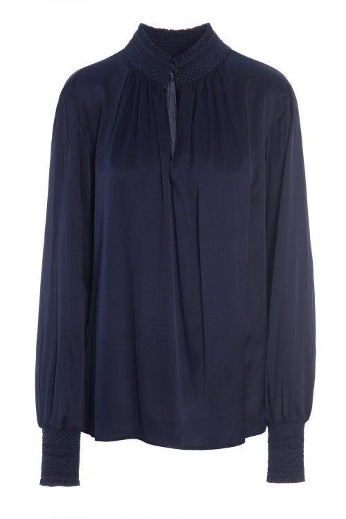 Navy oversized bluse med polo vaffelsøm Dea Kudibal - robina navy