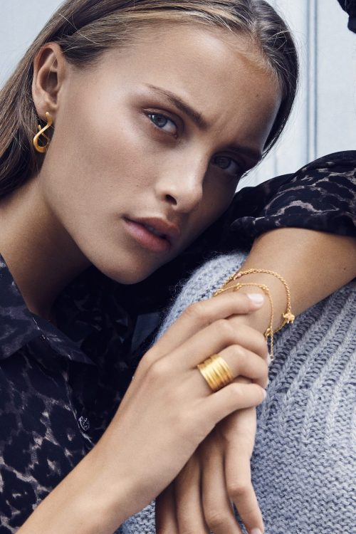Bred 'Tribe' ring i gullforgylt sterling sølv Enamel Copenhagen