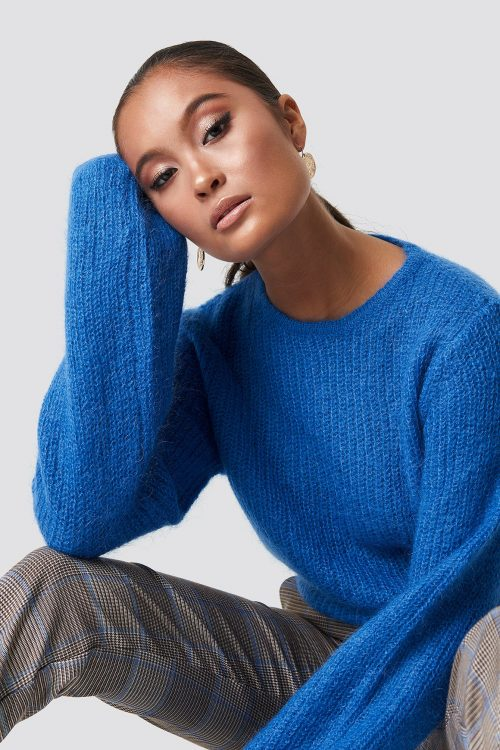 Lapis blue mohair mix genser med poseerm Gestuz - holly